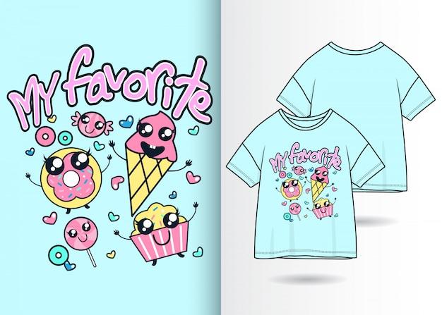 Illustrazione disegnata a mano del gelato sveglio con progettazione della maglietta
