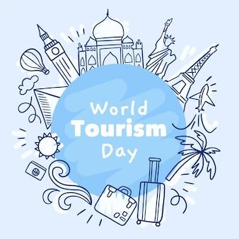 Illustrazione disegnata a mano del giorno del turismo con diversi punti di riferimento