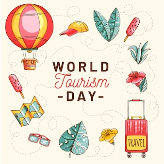 Illustrazione disegnata a mano del giorno del turismo