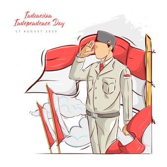 Illustrazione disegnata a mano del giorno dell'indipendenza indonesiana
