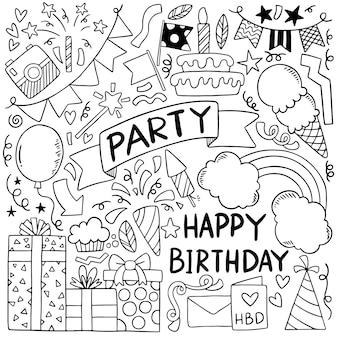 Illustrazione disegnata a mano del modello del fondo degli ornamenti di buon compleanno di scarabocchio del partito