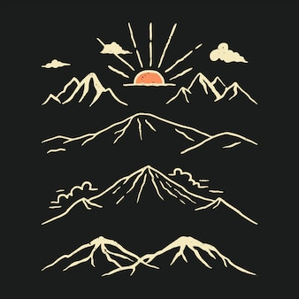 Illustrazione disegnata a mano del pacchetto della montagna