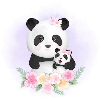 Illustrazione disegnata a mano del panda e della mamma svegli del bambino