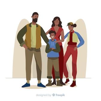 Illustrazione disegnata a mano del ritratto della famiglia