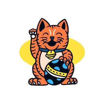 Illustrazione disegnata a mano del tatuaggio della vecchia scuola del gatto fortunato