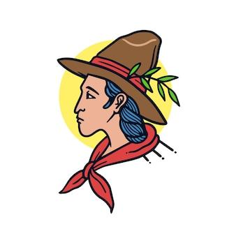 Illustrazione disegnata a mano del tatuaggio della vecchia scuola del giovane cowboy