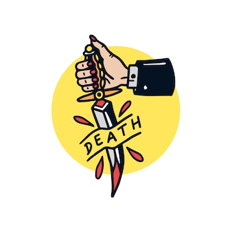 Illustrazione disegnata a mano del tatuaggio della vecchia scuola del pugnale mortale