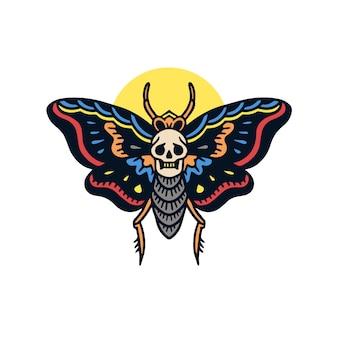 Illustrazione disegnata a mano del tatuaggio della vecchia scuola della falena graziosa disegnata a mano