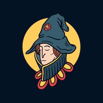 Illustrazione disegnata a mano del tatuaggio della vecchia scuola della giovane strega