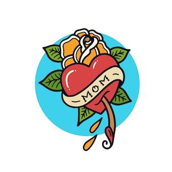Illustrazione disegnata a mano del tatuaggio della vecchia scuola della mamma di amore