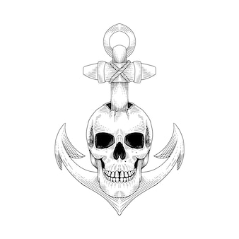 Illustrazione disegnata a mano dell'ancora del cranio di progettazione del tatuaggio e della maglietta