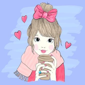 Illustrazione disegnata a mano della bambina