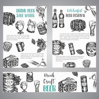 Illustrazione disegnata a mano della birra insieme degli opuscoli con la raccolta del birrificio d'annata abbozzato i simboli di vettore insegna del fest di ottobre
