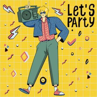 Illustrazione disegnata a mano della discoteca di dancing di stile di anni 80