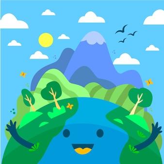 Illustrazione disegnata a mano della giornata della madre terra
