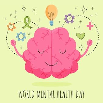 Illustrazione disegnata a mano della giornata mondiale della salute mentale