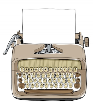 Illustrazione disegnata a mano della macchina da scrivere di vectot