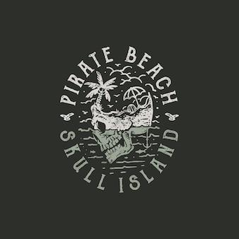 Illustrazione disegnata a mano della maglietta dell'isola del cranio dell'annata