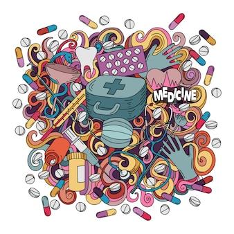 Illustrazione disegnata a mano della medicina di scarabocchi svegli del fumetto.