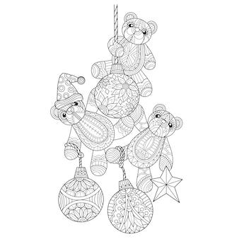 Illustrazione disegnata a mano della palla di natale e degli orsacchiotti.