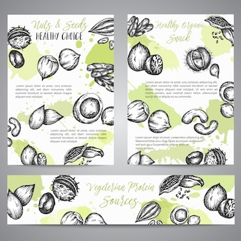 Illustrazione disegnata a mano della raccolta del fondo dei semi e dei dadi con gli elementi dei semi e delle noci
