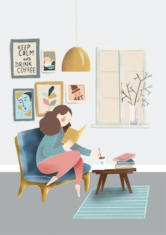 Illustrazione disegnata a mano della ragazza sveglia del fumetto con la tazza di caffè e il libro