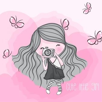 Illustrazione disegnata a mano della ragazza sveglia