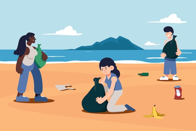 Illustrazione disegnata a mano della spiaggia di pulizia della gente