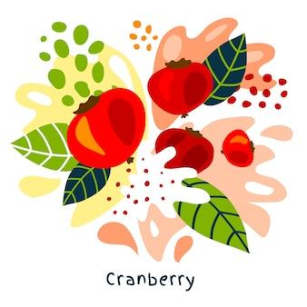 Illustrazione disegnata a mano della spruzzata del succo di frutta fresca del mirtillo rosso