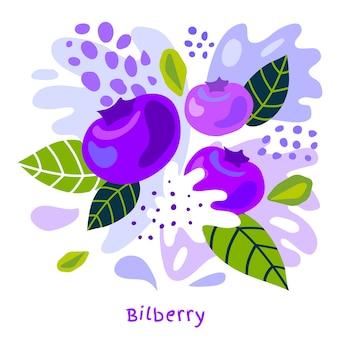 Illustrazione disegnata a mano della spruzzata del succo di frutta fresca del mirtillo
