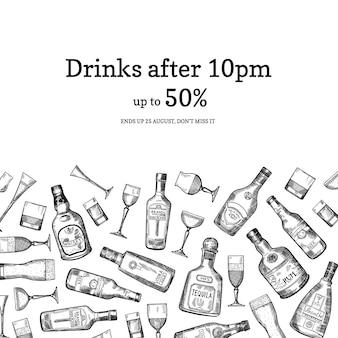 Illustrazione disegnata a mano delle bottiglie e di vetro della bevanda dell'alcool di vettore dell'insegna con il posto per testo