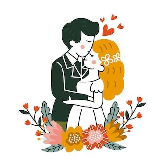 Illustrazione disegnata a mano delle coppie di nozze