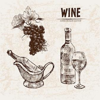 Illustrazione disegnata a mano dettagliata della bottiglia di vino di arte di linea