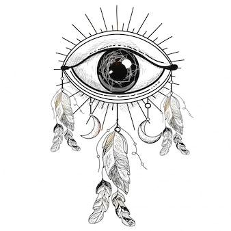 Illustrazione disegnata a mano di all seeing eye con piume etniche, elemento di stile boho.