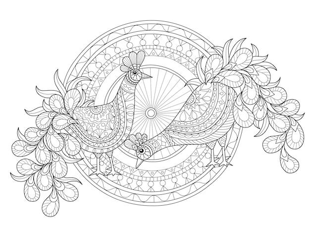 Illustrazione disegnata a mano di amante di pavone in stile zentangle