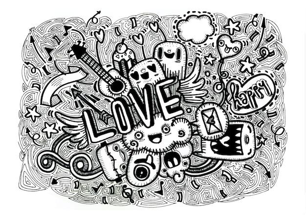 Illustrazione disegnata a mano di amore di scarabocchio di vettore del fumetto