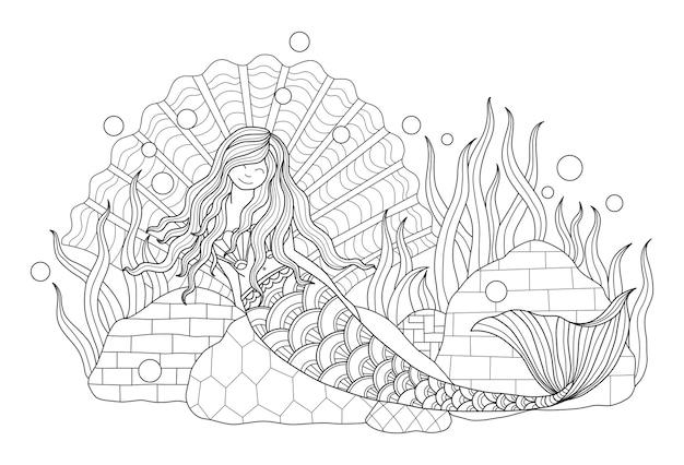 Illustrazione disegnata a mano di bella sirena