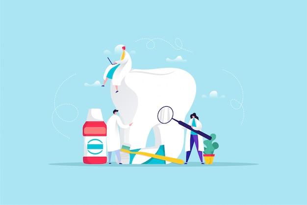 Illustrazione disegnata a mano di cure odontoiatriche