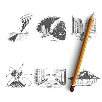 Illustrazione disegnata a mano di disastro naturale