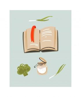 Illustrazione disegnata a mano di divertimento di tempo di cottura con il libro di cucina di ricette e le verdure isolate su fondo bianco.
