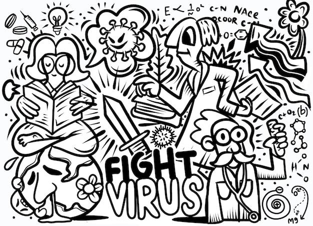 Illustrazione disegnata a mano di doodle del virus corona
