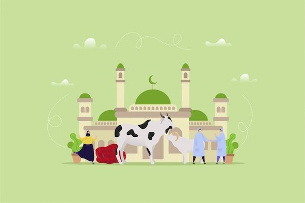 Illustrazione disegnata a mano di eid al adha