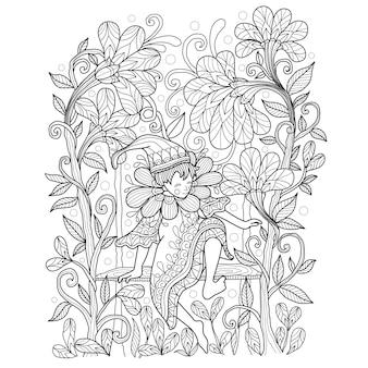 Illustrazione disegnata a mano di elfo nel giardino