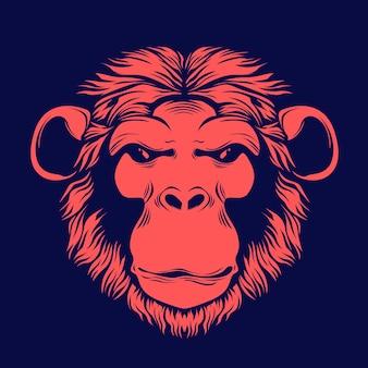 Illustrazione disegnata a mano di faccia di scimmia