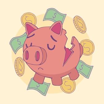 Illustrazione disegnata a mano di fallimento del porcellino salvadanaio