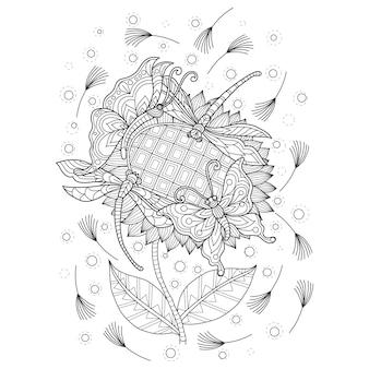 Illustrazione disegnata a mano di farfalla e fiore