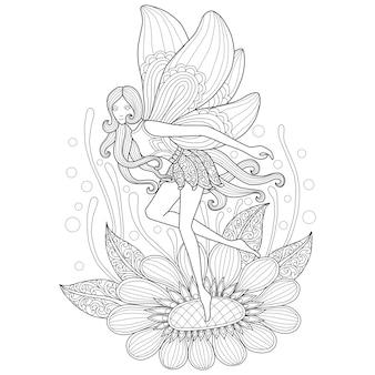 Illustrazione disegnata a mano di fata e fiore