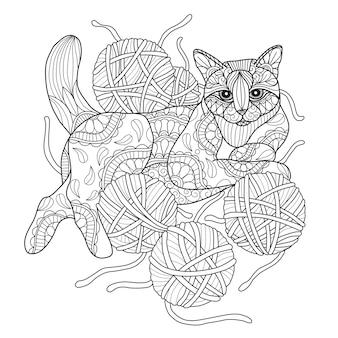 Illustrazione disegnata a mano di gatto e filati.