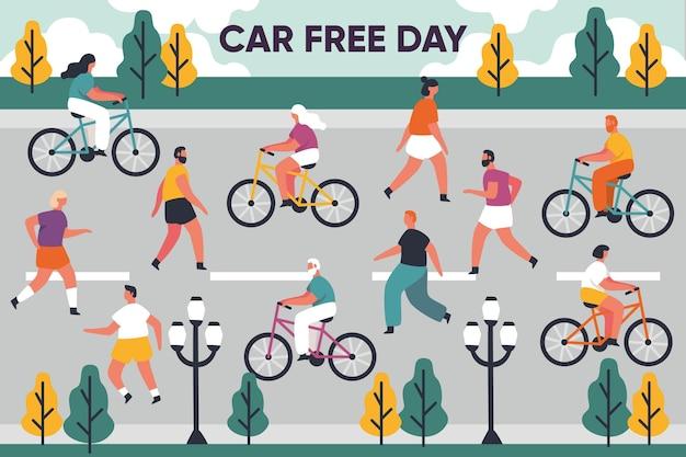 Illustrazione disegnata a mano di giorno libero dell'automobile del mondo