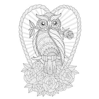 Illustrazione disegnata a mano di gufo e rose in stile zentangle